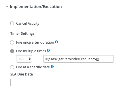 jBPM implementation section with the timer behavior defined