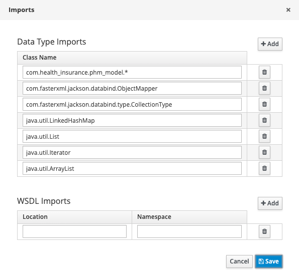 jBPM process designer with the example's data type imports