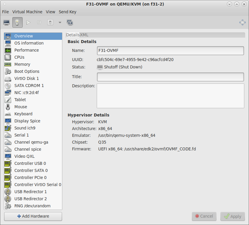 Virt-manager window showing the hardware details for VM F31-OVMF