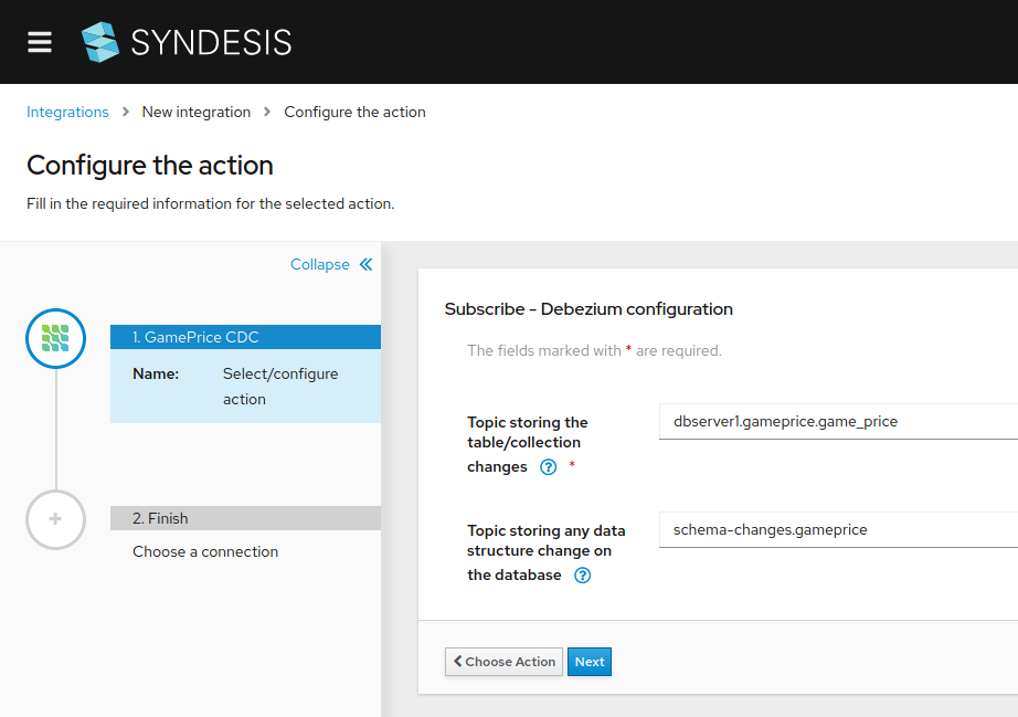 A screenshot of the new-integration screen in Syndesis.