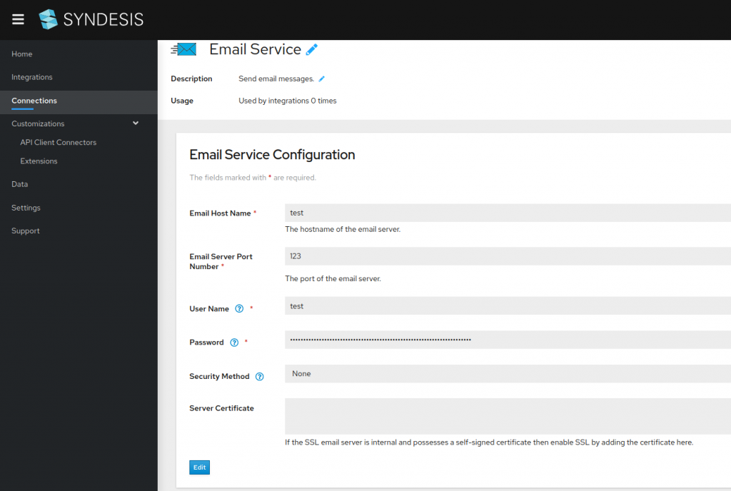 A screenshot of the email service configuration screen in Syndesis.