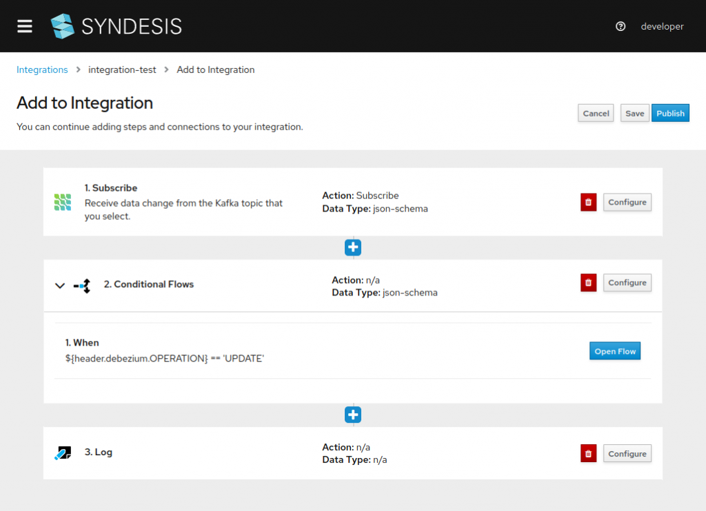 A screenshot of the Syndesis screen for adding new steps and connections to the integration pipeline.