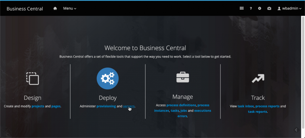 jBPM Business Central -> Deploy -> servers