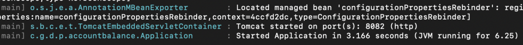 A screenshot showing the Spring Boot start time at command prompt.