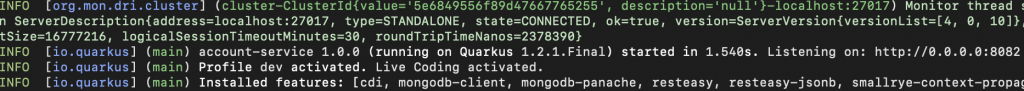 A screenshot of the Quarkus application's start time on first execution.