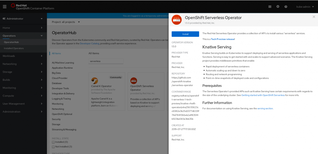 A screenshot of the OperatorHub and OpenShiff