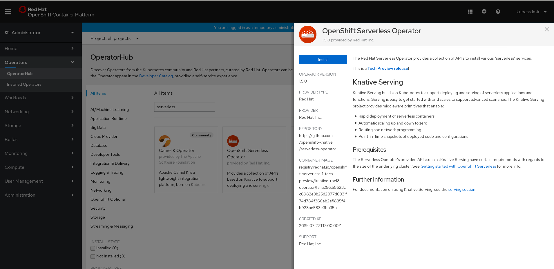 Build and deploy a serverless app with Camel K and Red Hat OpenShift Serverless 1.5.0 Tech Preview