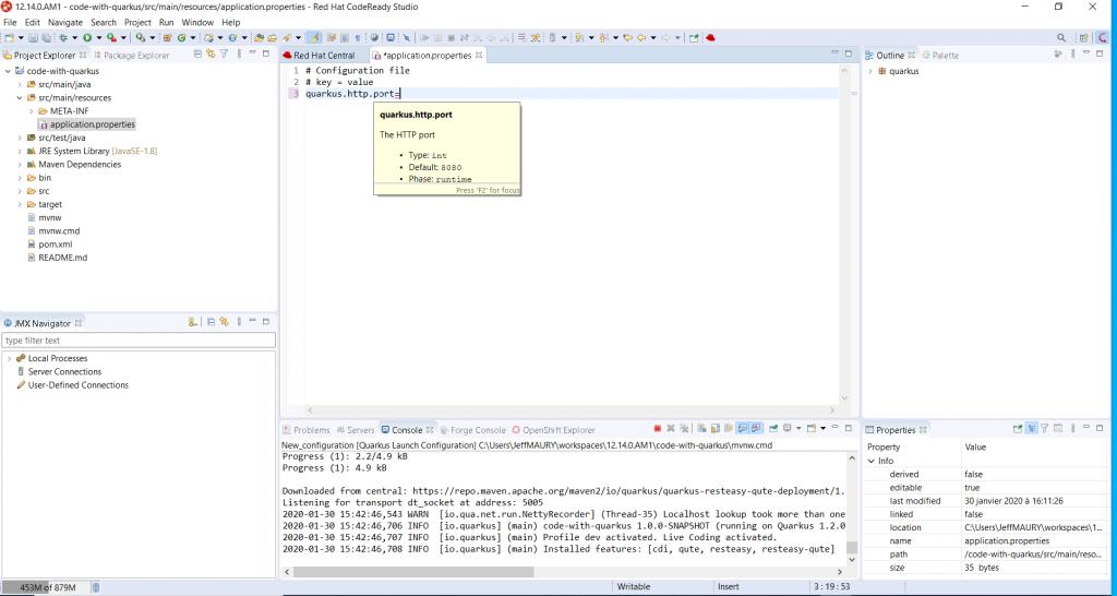 A screenshot of documentation for the quarkus.http.port setting.