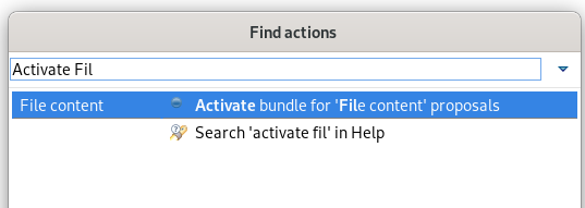 """A screenshot of the selected """"Activate bundle for 'File content' proposals"""" entry."""