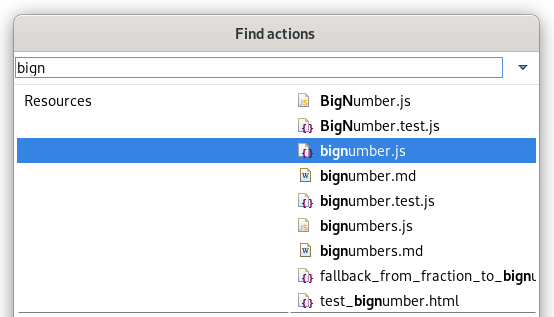 """A screenshot of the """"bignumber.js"""" file selected in Find Actions."""