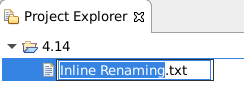 A screenshot of the inline-renaming feature selected in Project Explorer.