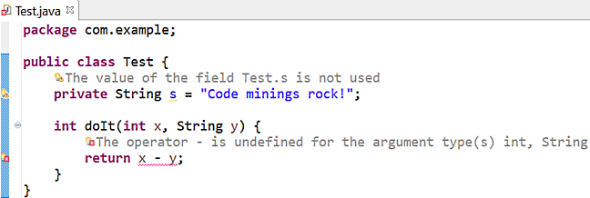 Screenshot of A text editor identifies errors, warnings, and info markers highlighted in the code.