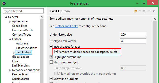 """A screenshot of the """"Remove multiple spaces on backspace/delete"""" option selected on the Text Editors preferences page."""