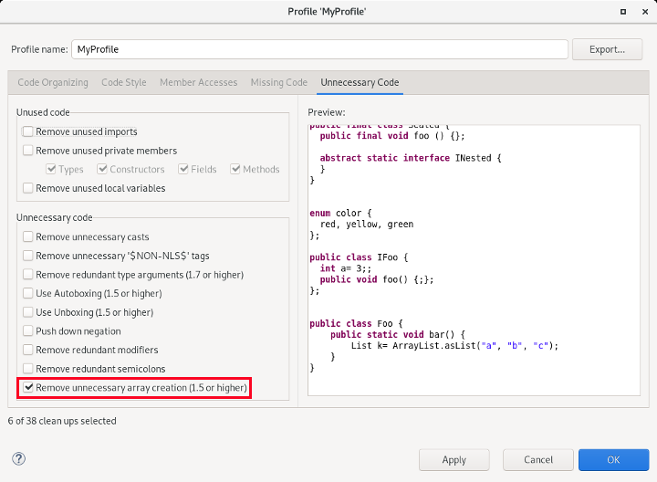 Screenshot of the Java Editor selected to remove unnecessary arrays.