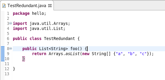 A screenshot of code with unnecessary arrays.