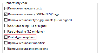 A screenshot of the selection for push-down negation.
