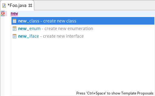 Screenshot of a quick assist for creating classes.