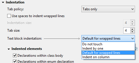 """Screenshot of a selection to """"Default for wrapped lines""""."""