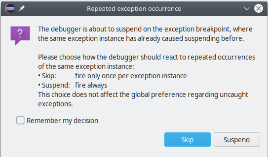 A screenshot of the JDT Debugger inquiring about a recurring exception instance.