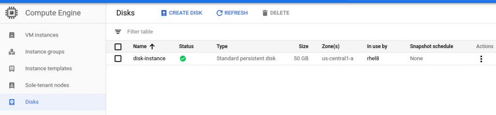 A screenshot of the VM disk listed in the Google Compute Engine console.