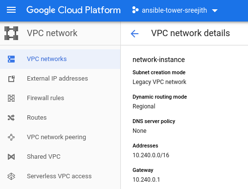 A screenshot showing the VPC network hosted on Google Cloud Platform.