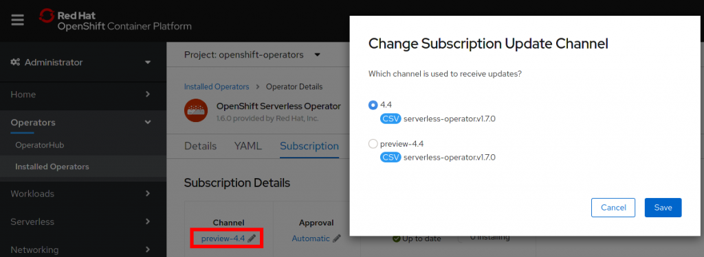 Change Subscription Update Channel dialog box