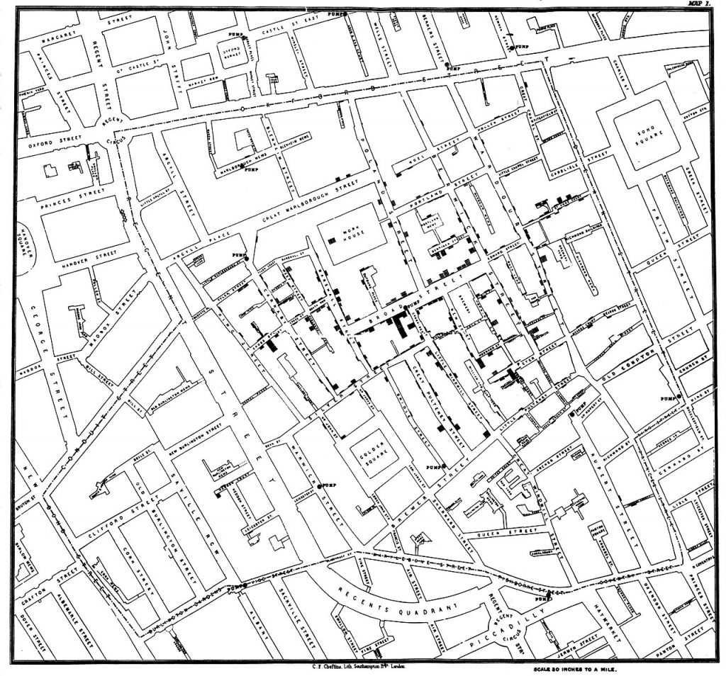 Original map by John Snow showing the clusters of cholera cases (indicated by stacked rectangles) in the London epidemic of 1854