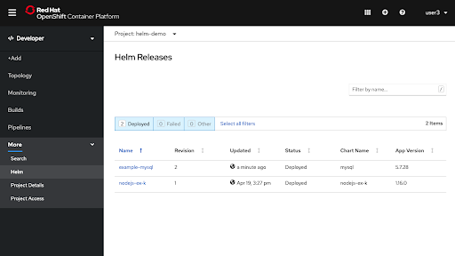 More -> Helm with Helm Releases displayed