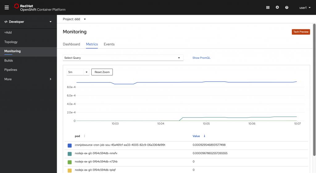 Developer -> Monitoring -> Metrics tab