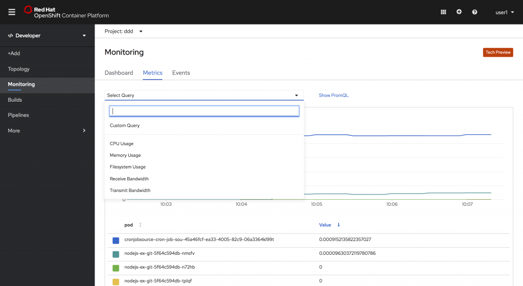 Developer -> Monitoring -> Metrics tab -> Select Query