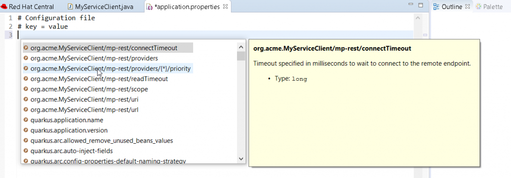 MicroProfile completion, hover and documentation example