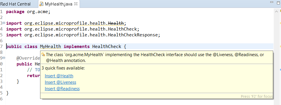 Image showing a prompt to install MicroProfile Health after using HealthCheck in the code.