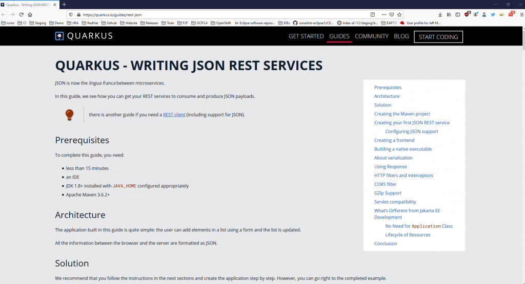 Image of Quarkus help for writing JSON REST services