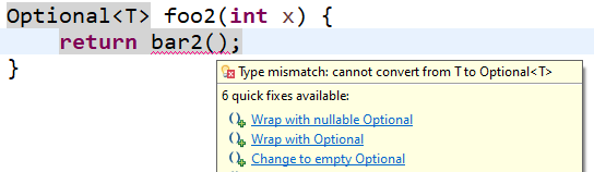 Image showing support for Optional statement