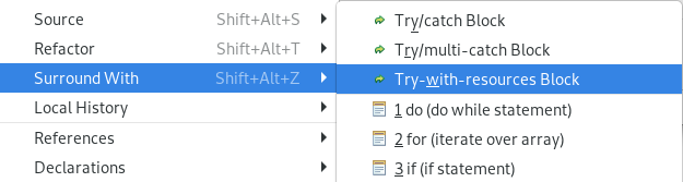 Dialog selecting Surround with Try-with-resources for the selected code block