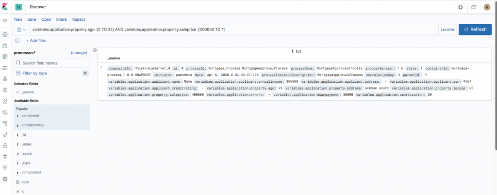 Kibana's raw section with two fields chosen and used in a custom query