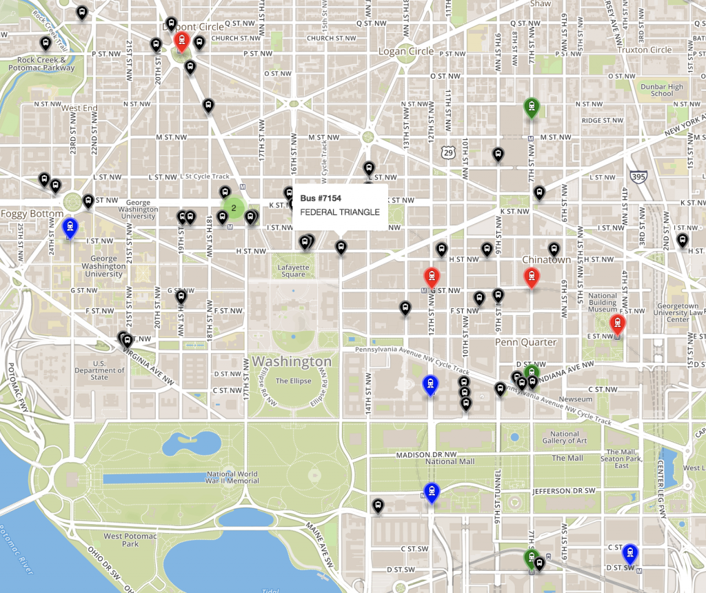 A map of transit stops in Washington DC's Federal Triangle.