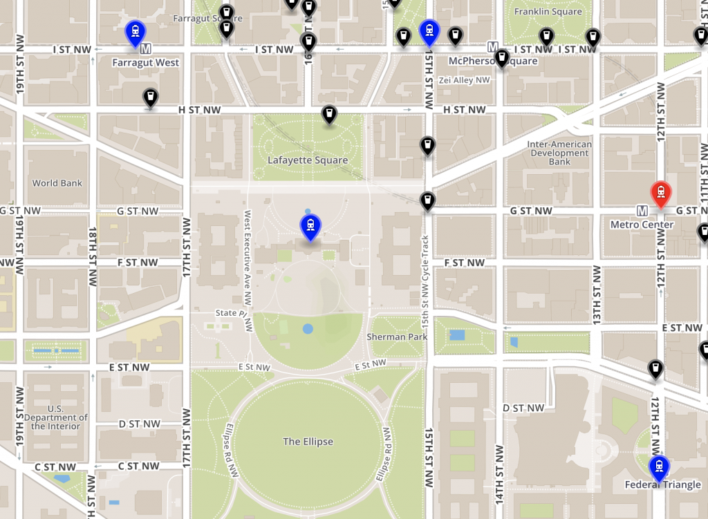 An updated map with a new bus icon located at the White House.