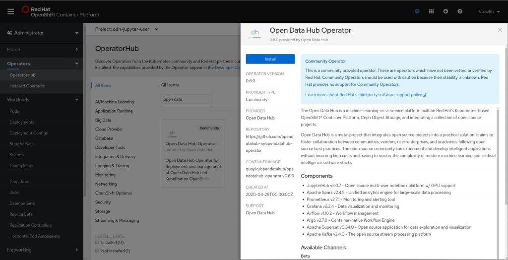 Open Data Hub 0.6 OperatorHub entry