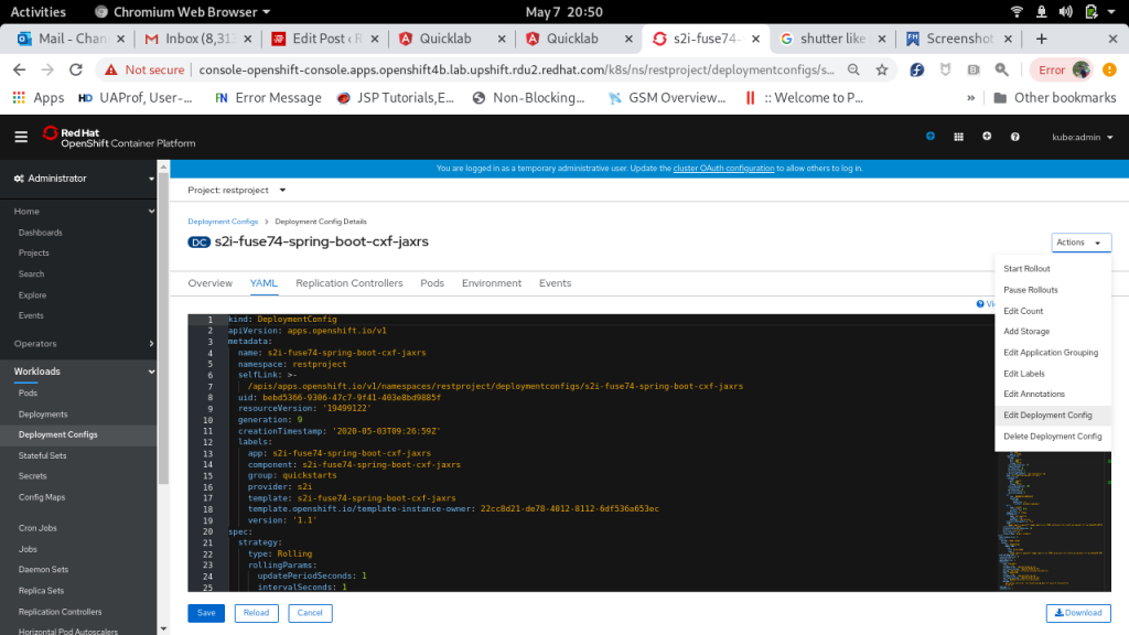 A screenshot showing the project's deployment-config in OpenShift.