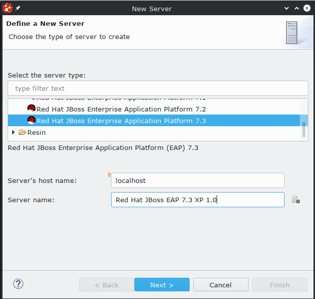 New Server dialog box with the specified options selected