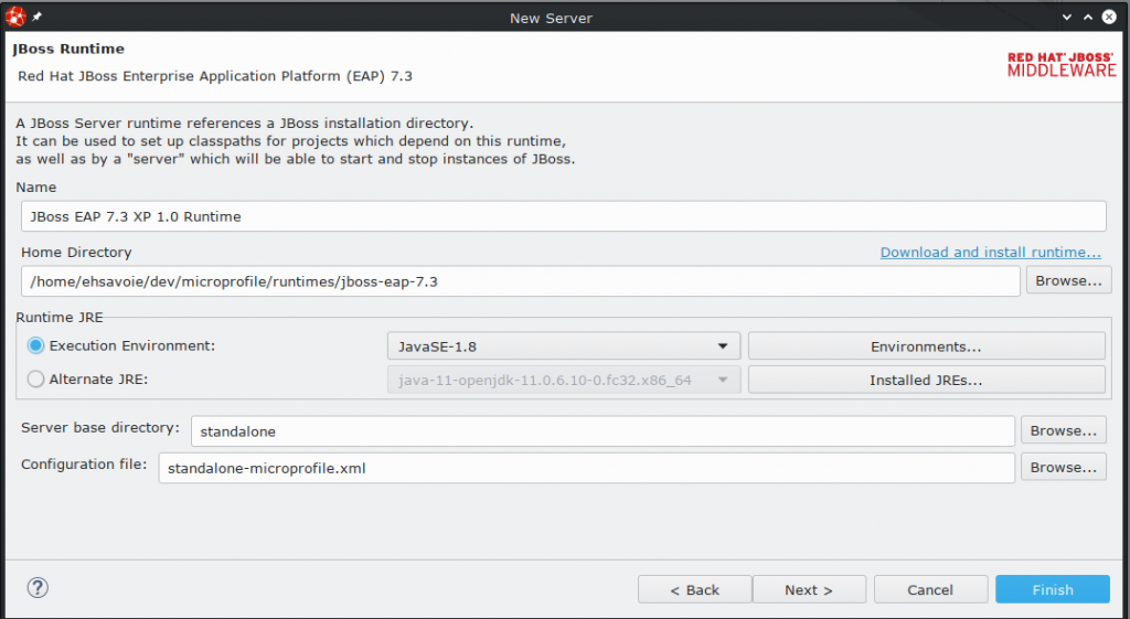 New Server dialog box for configuring the JBoss Runtime