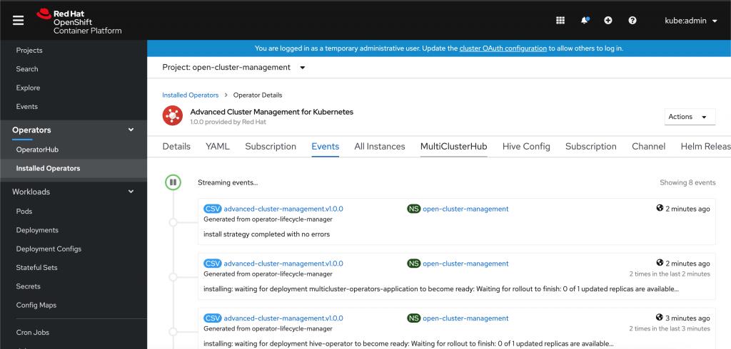 A screenshot of the MultiClusterHub events log.