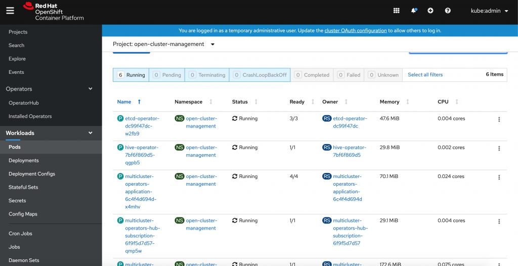 A screenshot of the pods running.