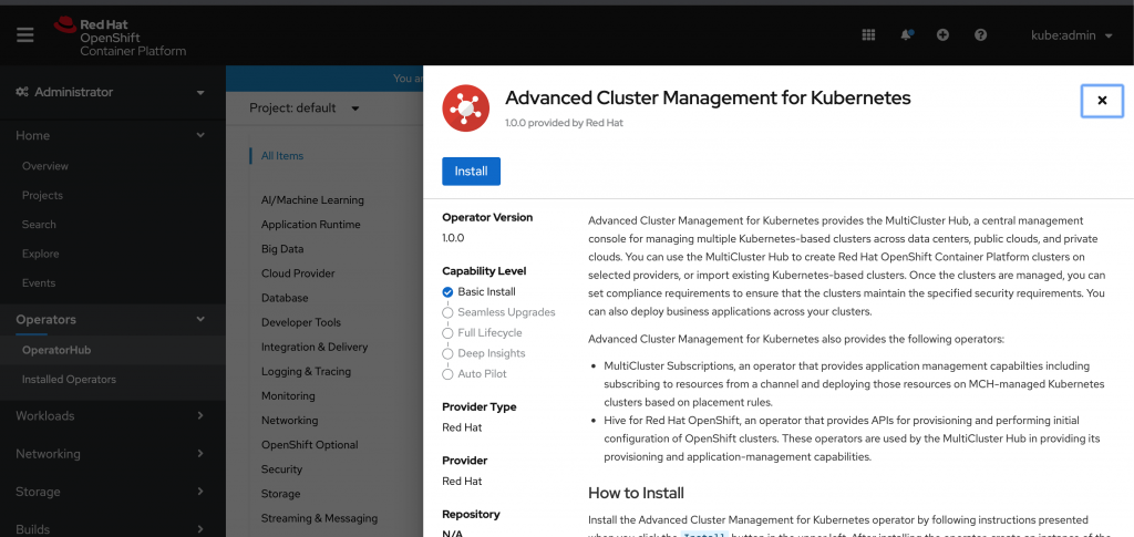 A screenshot of the installation page for Advanced Cluster Management for Kubernetes.