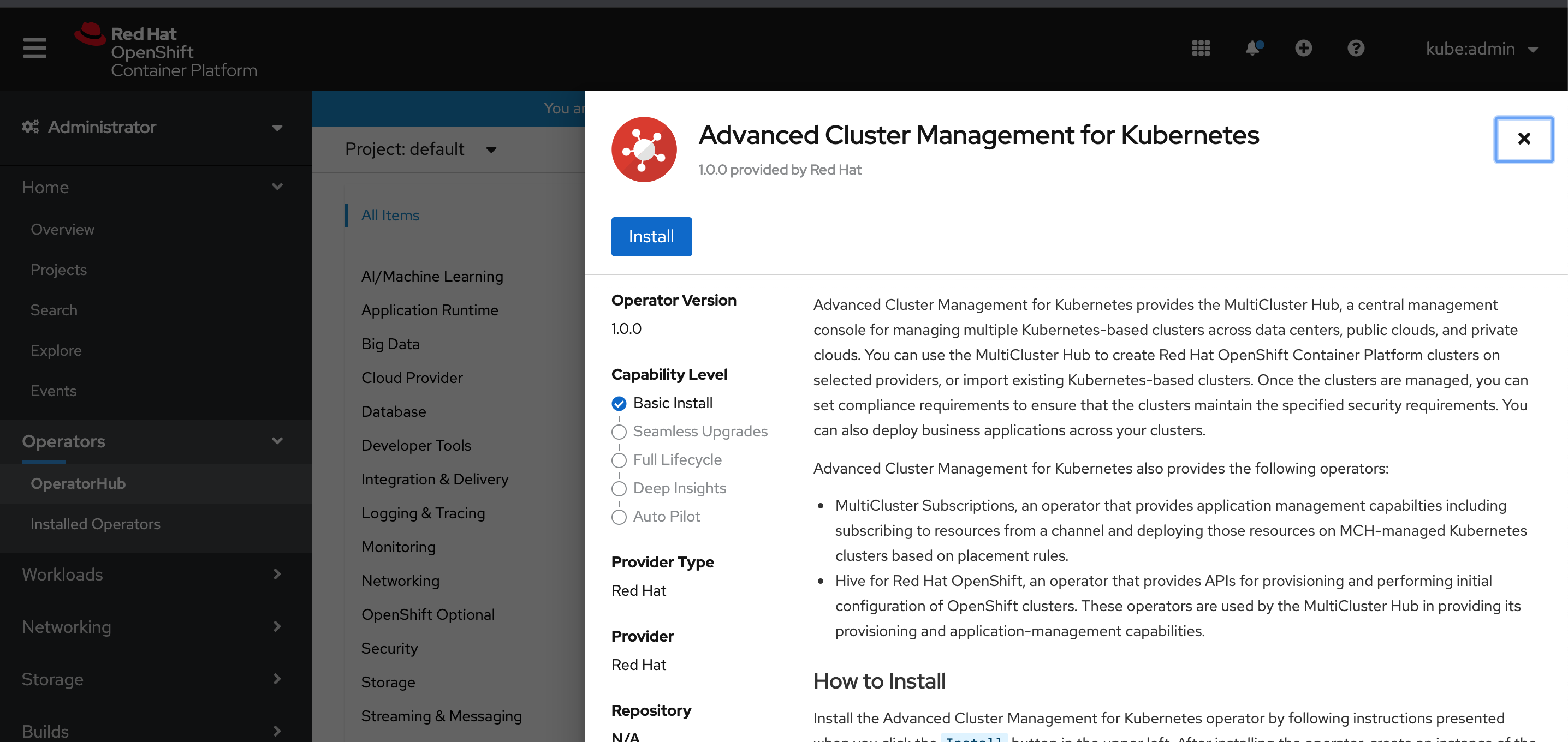 Installing Red Hat Advanced Cluster Management (ACM) for Kubernetes