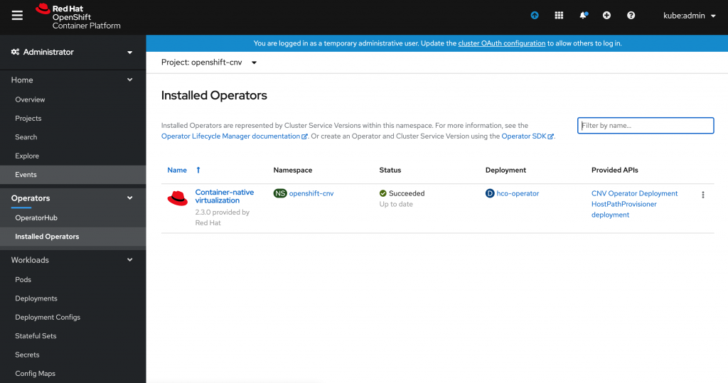 The Installed Operators page, showing that the Containter-native virtualization Operator installation was successful.