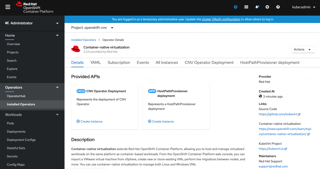 A screenshot of the Container-native virtualization Operator overview page.