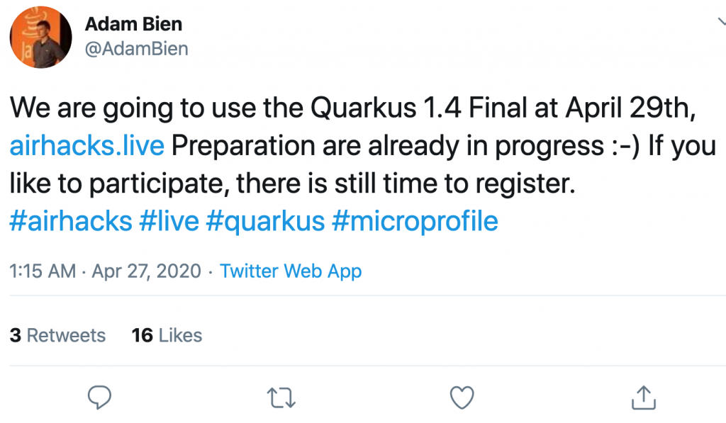 @AdamBien Twitter post for Quarkus 1.4 Final
