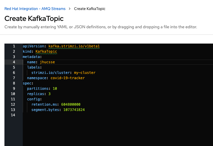 A screenshot of the YAML file to create the Kafka topic.